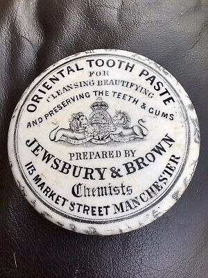 £3.20 • Buy Rare Victorian Antique Pot Lid Oriental Tooth Paste Jewsbury & Brown Manchester