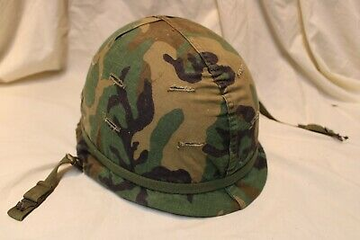 $129.95 • Buy US Military Issue Vietnam Era M1 Steel Pot Helmet With Liner And Cover  P2