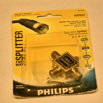 AU10.62 • Buy Philips 2-Way Coaxial Cable Splitter PH61000 New RG6 Cable TV Internet