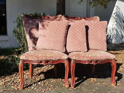 AU40 • Buy 2 X Antique Upholstered Carved Timber Chairs