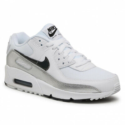 £59.99 • Buy Nike Air Max 90 GS White Black Silver Trainers Shoes UK 4.5, 5, 5.5