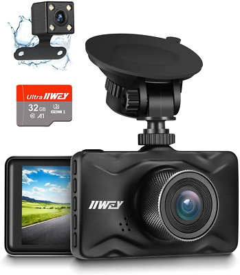 AU95.14 • Buy Dash Cam Front And Rear, 32GB TF Card Included IIWEY 1080P Dash Camera For Car A