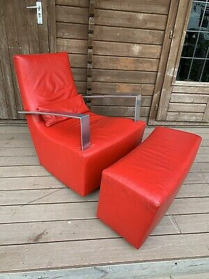 £375 • Buy Vintage Ligne Roset Neo Leather Rocking Armchair And Ottoman Footstool