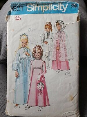 £6.49 • Buy VINTAGE SIMPLICITY 9601 SEWING PATTERN GIRLS BRIDESMAID PARTY DRESS CAPE Age 6