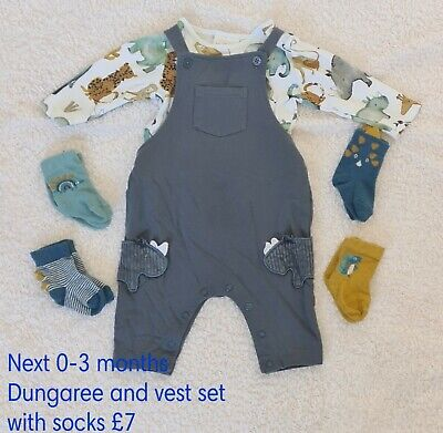 £7 • Buy Baby Boy Clothes 0-3 Months, Dungaree Set From Next And Matching Pairs Of Socks.