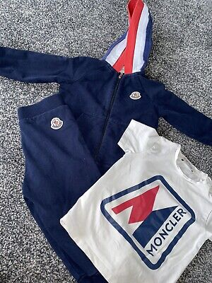 £70 • Buy Moncler Baby Boys Tracksuit With Tri Colour Hood 12/18 Months With Matching Top