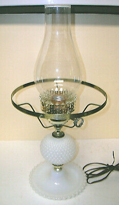 $24.95 • Buy Electric Hurricane Lamp White Milk Glass Hobnail W/ Clear Chimney Vintage 18  T