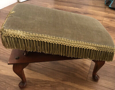 £50 • Buy Vintage Adjustable Foot Stool Foot Rest Folding Stool With Queen Anne Legs