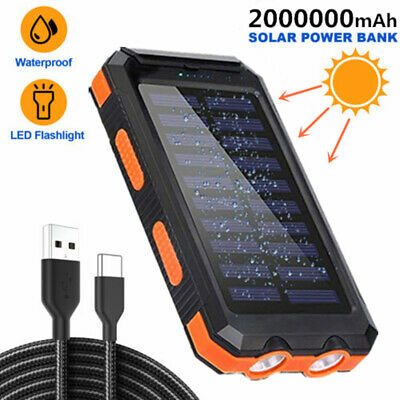 £4.49 • Buy Portable Travel Solar Power Bank 2000000mAh Battery Charger USB For Mobile Phone