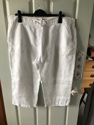 £7 • Buy Marks And Spencer M & S Collection White Linen Cropped Trousers  Size 18