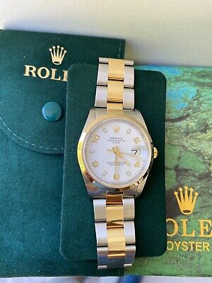 $ CDN7408.04 • Buy Rolex 34MM Oyster Perpetual Date 15203 White Dial, Extra Blue Dial &  Serviced