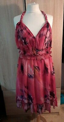 £9.95 • Buy Pink Ever Pretty Pink Floral Dress With Plated Straps Size 18