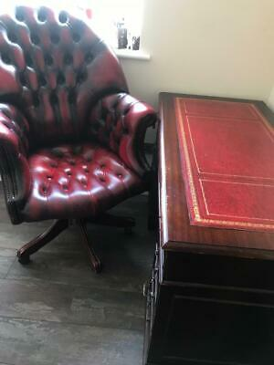 £650 • Buy Oxblood Red Leather Chesterfield Captains Chair, Writing Desk With Key &filing C