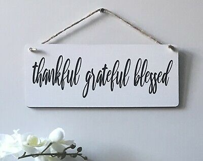£5.50 • Buy Handmade Wooden Sign - Home Decor Wall Plaque - Thankful, Grateful, Blessed