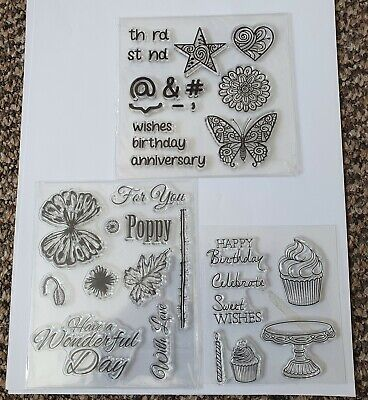 £4.99 • Buy Mixed Clear Stamp Set - Poppy, Butterfly, Cupcake, Star, Sentiments