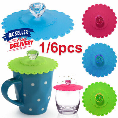 £3.52 • Buy 1/6pcs Cover Glass Drink Seal Silicone Coffee Mug Anti-dust Suction Cup Lid