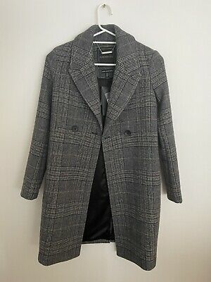 AU100 • Buy Forever New Grey Check Wool Blend Coat Size 4 6 Xs