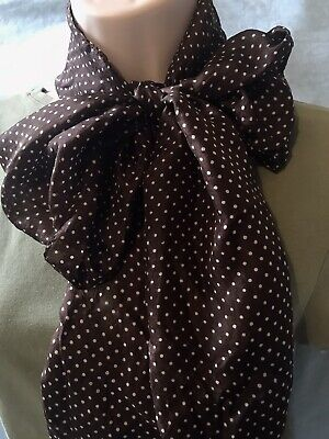 £3 • Buy Silk Scarf, F&F Floaty Long Sheer, For Head Or Neck, Brown Polka Dot Spot