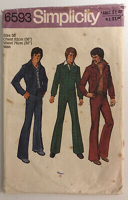 £11.88 • Buy Simplicity 6593 Vintage 70s Sewing Pattern Men's Jacket And Jeans Size: 36
