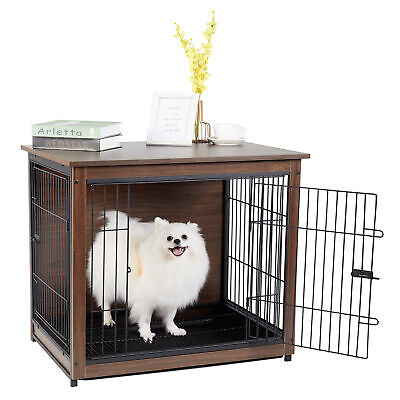 £10.50 • Buy Dual Door Pet Crate Wooden Dog Cage With Tray For Home Pet Shop 30 Inch