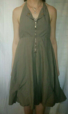 £11.99 • Buy Pussycat London Halterneck Fit And Flare Unusual Grey Dress  Size 8 / 36