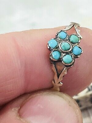 £225 • Buy Antique Georgian Rose Gold Forget Me Not Ring & Turquoise Stone Size S Rare 1820