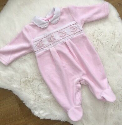 £11.99 • Buy Baby Girls Spanish Style Smocked Rocking Horse Pink Babygrow All In One