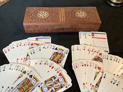 £5 • Buy Vintage Hand Carved Wooden Box Playing Card Box + 2 Playing Cards Decks Dice