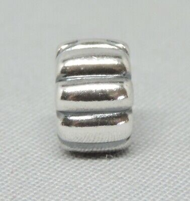 AU0.01 • Buy Authentic Pandora Moments Ribbed Clip/Charm/Bead Silver 925 ALE 790163