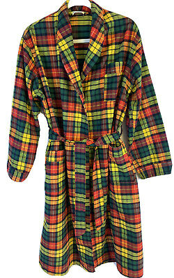 $20 • Buy VINTAGE St. Moritz Made In Portugal Plaid Flannel Wrap Robe Sz L (runs Small)
