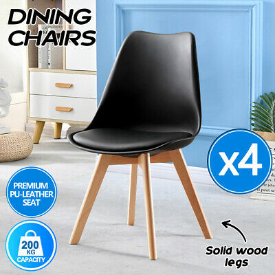 AU92 • Buy 4x Dining Chairs Kitchen Table Chair Lounge Room PU Wood Retro Padded Seat
