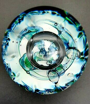 £29.95 • Buy Signed Beautiful 1992 Selkirk Glass Paperweight Blue Green White Labelled Ex Con
