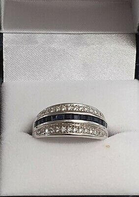 AU650 • Buy 18ct White Gold Diamond And Sapphire Dress Ring Size Q.5!