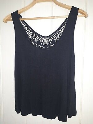 £5.99 • Buy Black Cut-out Crocheted Panel Top/vest - Size 10