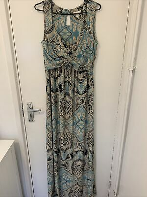 £16.95 • Buy Beige And Blue Patterned Maxi Dress From Monsoon Size 12