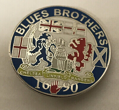 £4.99 • Buy Rare Glasgow Rangers, Linfield & Chelsea Supporter Enamel Badge - Blues Brothers