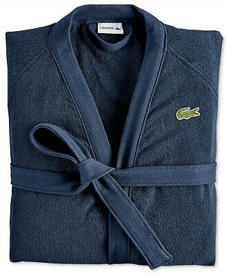 $94.99 • Buy Lacoste Men's Navy Blue 100% Cotton Classic Terry Bath Robe With Belt NEW