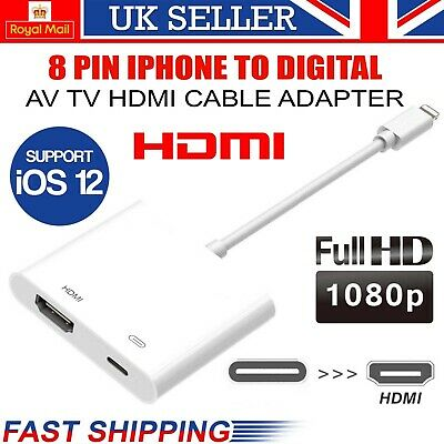 £7.99 • Buy 8 Pin To HDMI Cable/adapter AV To TV 1080P For Iphone 5/6/7/8/X/11 XR 11/12& Pro