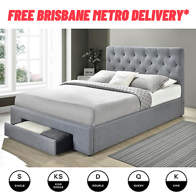 AU279 • Buy Fabric Upholstered Bed Frame With Storage - Free Brisbane Metro Delivery*