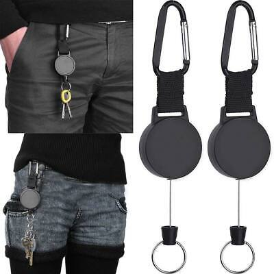 £5.39 • Buy 2pcs Stainless Steel Heavy Duty Retractable Pull Keyring Ring Key Chain Recoil