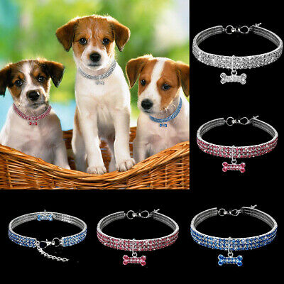 £3.59 • Buy Crystal Diamante Pet Necklace Resilient Dog Collar Soft Bling Cat Puppy UK