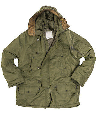 $ CDN134.22 • Buy Olive N3B Parka US Military Style Long Hooded Polar Jacket Cold Weather Coat