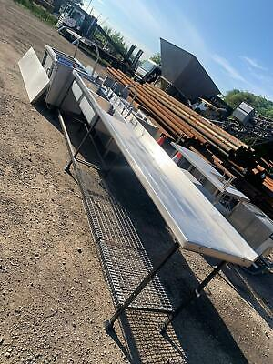 £450 • Buy Large Double Stainless Steel Sink And Drainer Reclaimed School Kitchen Cafe Unit