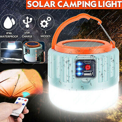 AU28.58 • Buy LED Solar Light Camping Lantern USB Rechargeable BBQ Tent Emergency Lamp +Remote