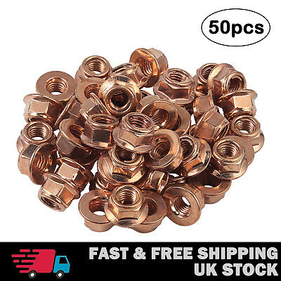 £9.55 • Buy 50X Copper Flashed Exhaust Manifold Nuts - Metric Pitch High Temperature M8 Nut
