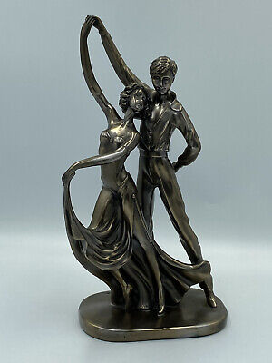 £16.99 • Buy Ballroom Dancing Couple Figurine Cold Cast Resin Bronze Effect 30cm By Rosa 2003