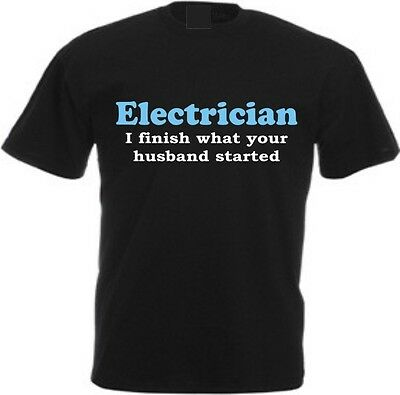 £10.99 • Buy ELECTRICIAN FINISH HUSBAND STARTS T-shirt Sparky Gift Birthday Christmas Funny