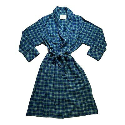$34 • Buy Lee Valley Ireland Navy Plaid Cotton Flannel Robe Size XL Warm Soft Quality