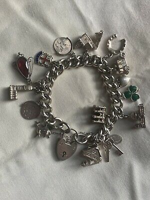 £95 • Buy Vintage 1970s Heavy Curb Link Charm Bracelet + Charms All Sterling Silver 79.8g