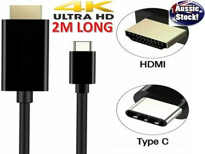 AU10.88 • Buy USB C To HDMI Cable USB 3.1 Type C Male To HDMI UHD 4K 2m Cable